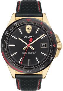 Relógio Scuderia Ferrari Masculino Couro Preto - 830490
