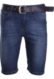 Bermuda Dpto By Departamento Jeans Com Cinto Em Couro Azul