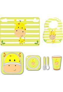Kit Alimentação Babador Jogo Americano - Girafa - Unik Toys Amarelo