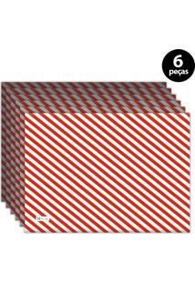 Jogo Americano Mdecore Natal Listras 40X28 Cm Vermelho 6Pçs