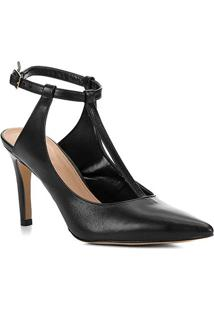 Scarpin Couro Shoestock Salto Alto Tira - Feminino-Preto