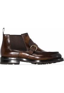 Santoni Ankle Boot Com Fivela - Marrom