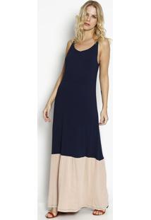 Vestido Longo Com Recortes- Azul Marinho & Bege- Vitvittri