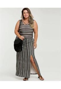 Vestido Longo Listrado Strappy Plus Size Sem Manga Luktal Feminino - Feminino-Preto