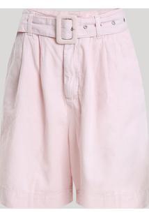 Bermuda Feminina Mindset Cintura Alta Com Cinto Rosa Claro
