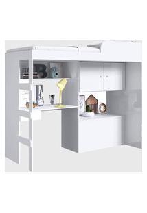 Cama Alta Multifuncional C/ Baú E Estaçáo De Trabalho Lion Branco Art In Móveis