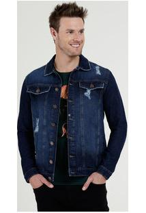 Jaqueta Masculina Jeans Puídos Bolsos Marisa