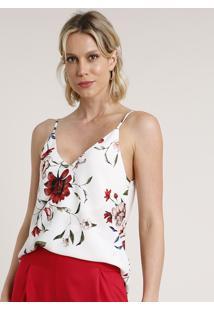 Regata Feminina Estampada Floral Alça Fina Decote V Branca
