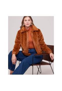 Amaro Feminino Jaqueta Fur Detalhe Leather, Capuccino