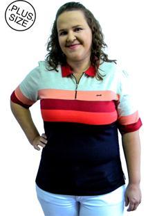 Camisa Pólo Listrada Hifen Plus Size Preta