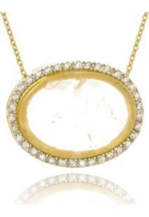 Colar Le Diamond Pingente Pedra Quartzo Rosa - Tricae