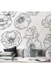 Grudado Adesivo De Parede Line Flowers Branco & Preto 131X98Cm