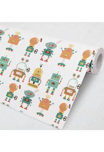 Papel De Parede Robôs Colorido 3M Grão De Gente Laranja
