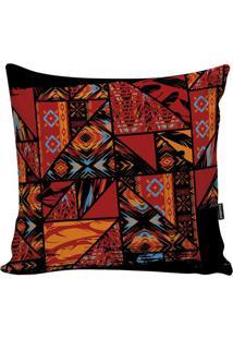 Capa Para Almofada African- Vermelho Escuro & Preta-Stm Home