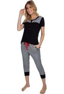 Pijama Capri Gestante Listra Feminino - Feminino-Preto