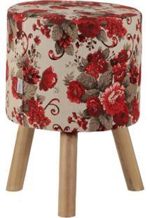 Puff Banqueta Bill Linho Floral Vermelho