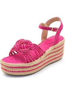 Sandália Anabela Salto Alto Em Camurça Pink Conforto