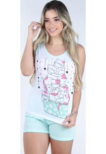 Pijama Curto Regata Bravaa Modas Baby Doll Short Blusinha 127 Verde - Kanui