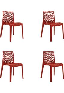 Kit 04 Cadeiras Gruv Vermelha Rivatti