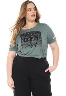 Blusa Cativa Plus Estampada Verde/Preta