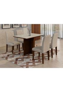 Conjunto De Mesa De Jantar Com 4 Cadeiras Ane Suede Castor E Branco