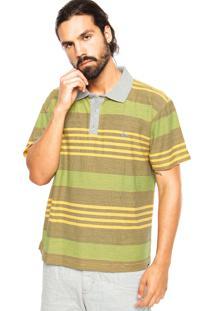 Camisa Polo Quiksilver Slim Fit Coastal Amarelo/Verde
