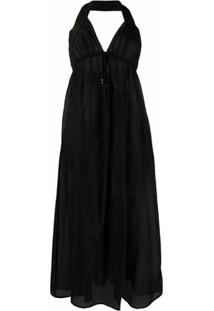 Stella Mccartney Vestido Longo Translúcido - Preto