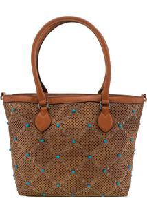 Bolsa Feminina Arara Dourada - Lt8147 Caramelo