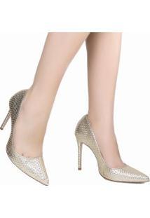 Sapato Schutz Scarpin Metalizado Em Couro