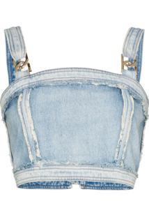 Balmain Blusa Cropped Com Aplicação De Corrente - Azul