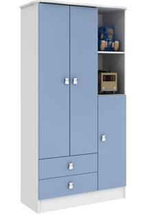 Guarda Roupa 3 Portas Branco E Azul Percasa Móveis