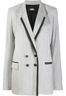Karl Lagerfeld Jaqueta De Alfaiataria Com Abotoamento Duplo - Cinza