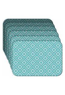 Jogo Americano Love Decor Blue Geometric Kit Com 6 Peças