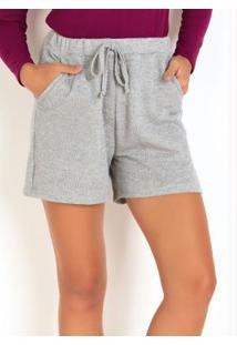 Shorts Em Moletinho Cinza Com Fios Metalizados
