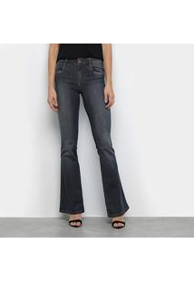 Calça Jeans Flare Morena Rosa Estonada Cintura Média Feminina - Feminino