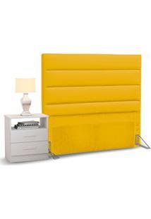Cabeceira Cama Box Solteiro 90Cm Greta Corano Amarelo E 1 Mesa De Cabe