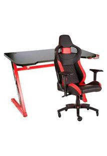 Cadeira Gamer Corsair T1 Race Preta/Vermelha - Cf-9010013 + Mesa Gamer Husky Gaming Storm Black Red 100