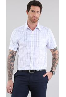 Camisa Comfort Xadrez Branca