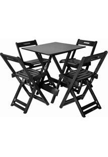 Jogo Com 4 Cadeiras Dobrável 70X70 Tabaco - Btb Móveis