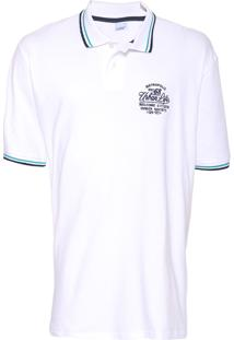 Camisa Polo Malwee Bordada Branca