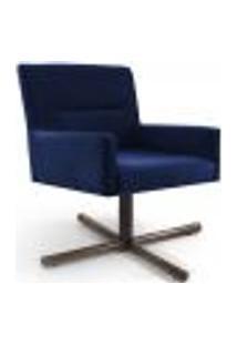 Poltrona Decorativa Giratória Base X Angel D02 Veludo Azul Oxford B-304 - Lyam Decor