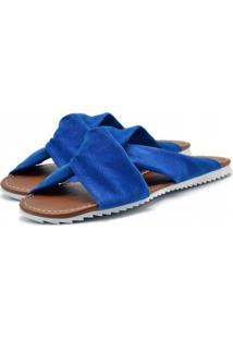 Sandália Rasteira Flor Da Pele Azul - Kanui
