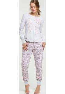 Pijama Feminino Estampa Minnie Animal Print Disney