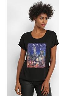 Camiseta Facinelli Paris Paetês Feminina - Feminino-Preto