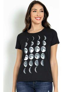 Blusa T-Shirt Preta Com Estampa Lozalizada