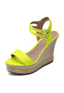 Sandalia Anabela Feminina Confortavel Amarelo Neon