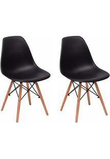 Kit 02 Cadeiras Eiffel Charles Eames F01 Preta Base De Madeira Dsw - M