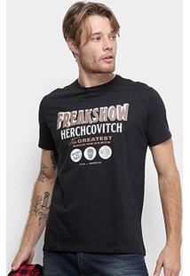 Camiseta Ellus Cotton Fine Ah Freakshow Classic Masculina - Masculino-Preto