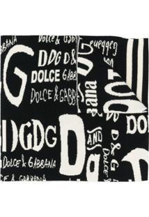 Dolce & Gabbana Cachecol Com Logo De Cashmere - Preto