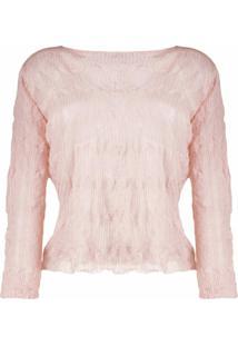 Emporio Armani Blusa De Tricô Com Efeito Amassado - Rosa